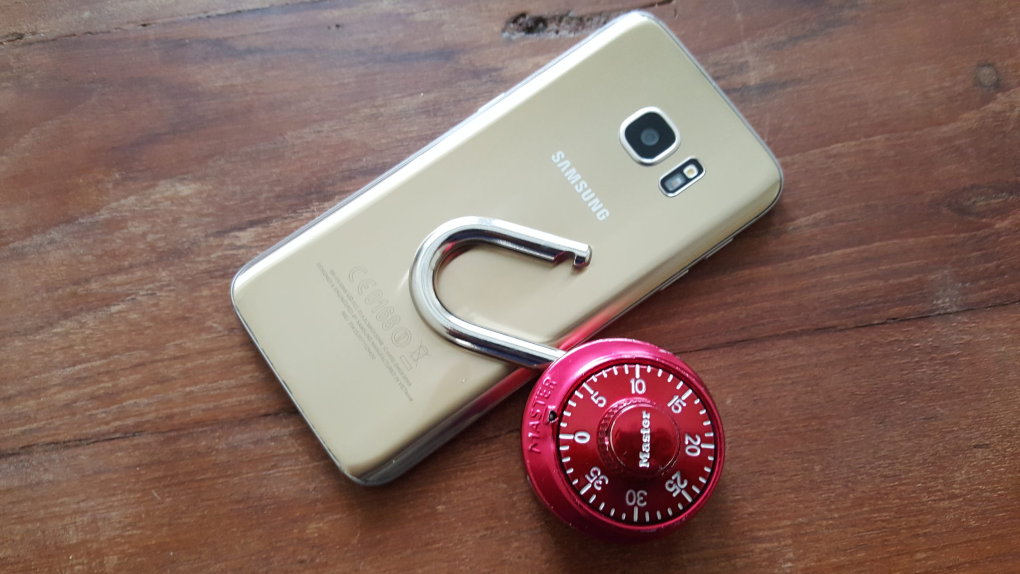 Samsung with unlocked padlock