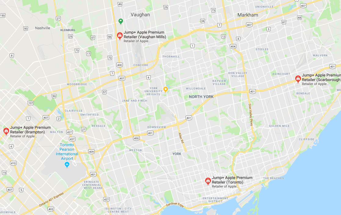 Map with location of Jump+ Cell Phone Repair locations in Toronto