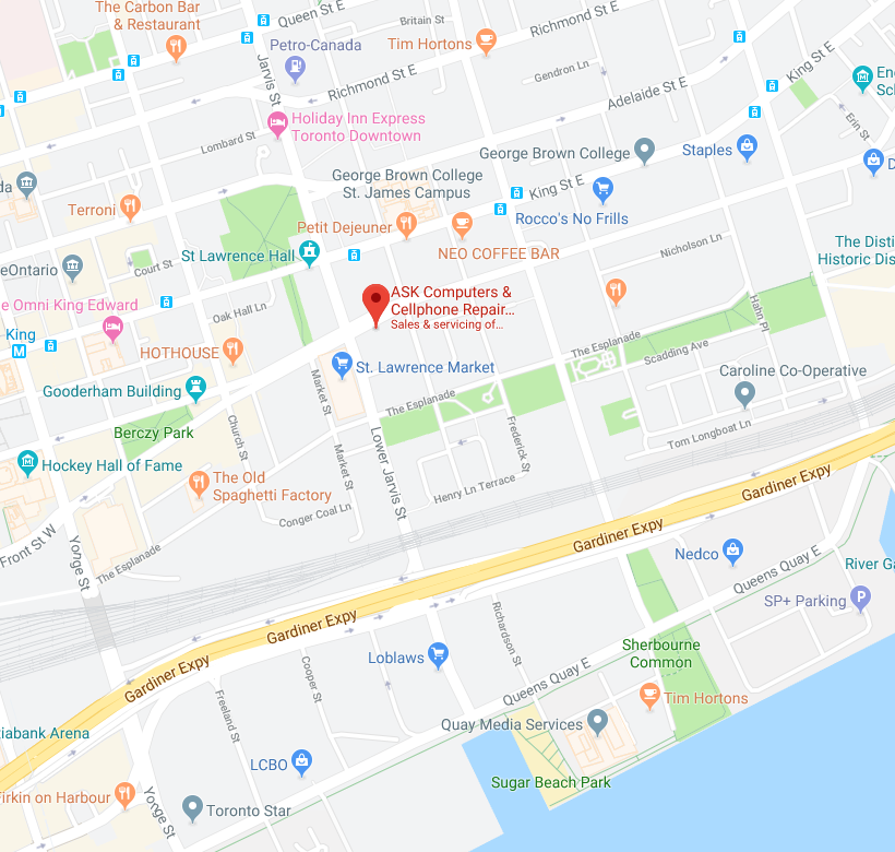 Map with location of ASK Cell Phone Repair in Toronto