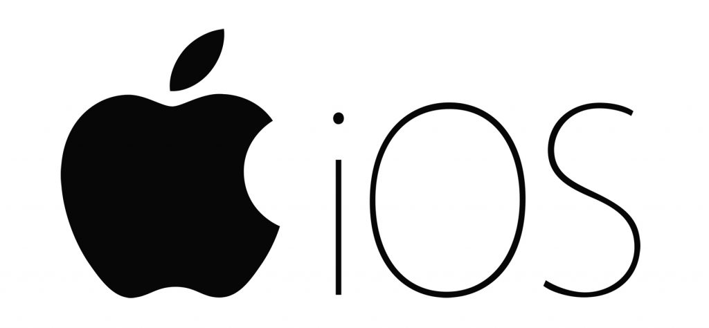 Apple logo black and white with bite and IOS