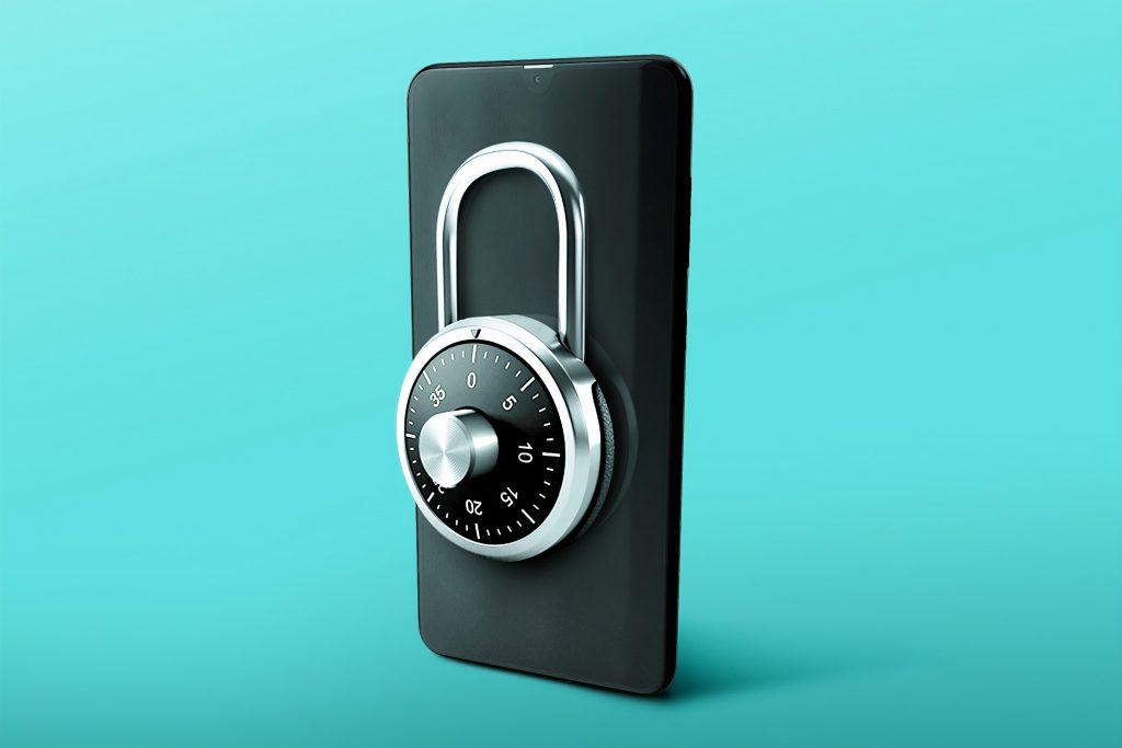 black combination padlock on blue surface