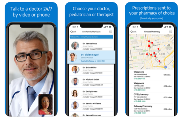 patient talking to a doctor through iphone app