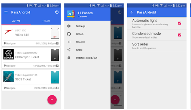 screenshots of passbook viewer from android app