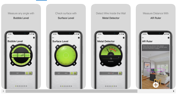 Cell phone screen showing surface level app, metal detector app, AR Ruler app