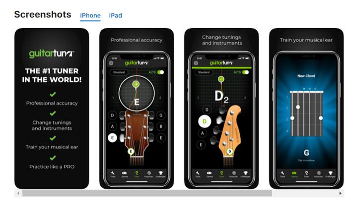 screenshots of guitar tuner app
