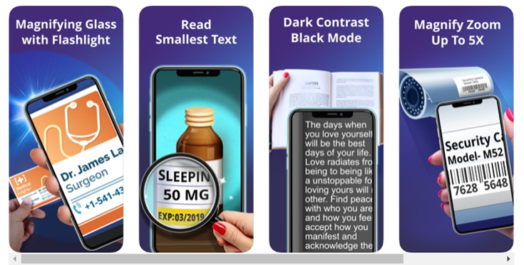 cell phone use as a magnifying glass usage information images