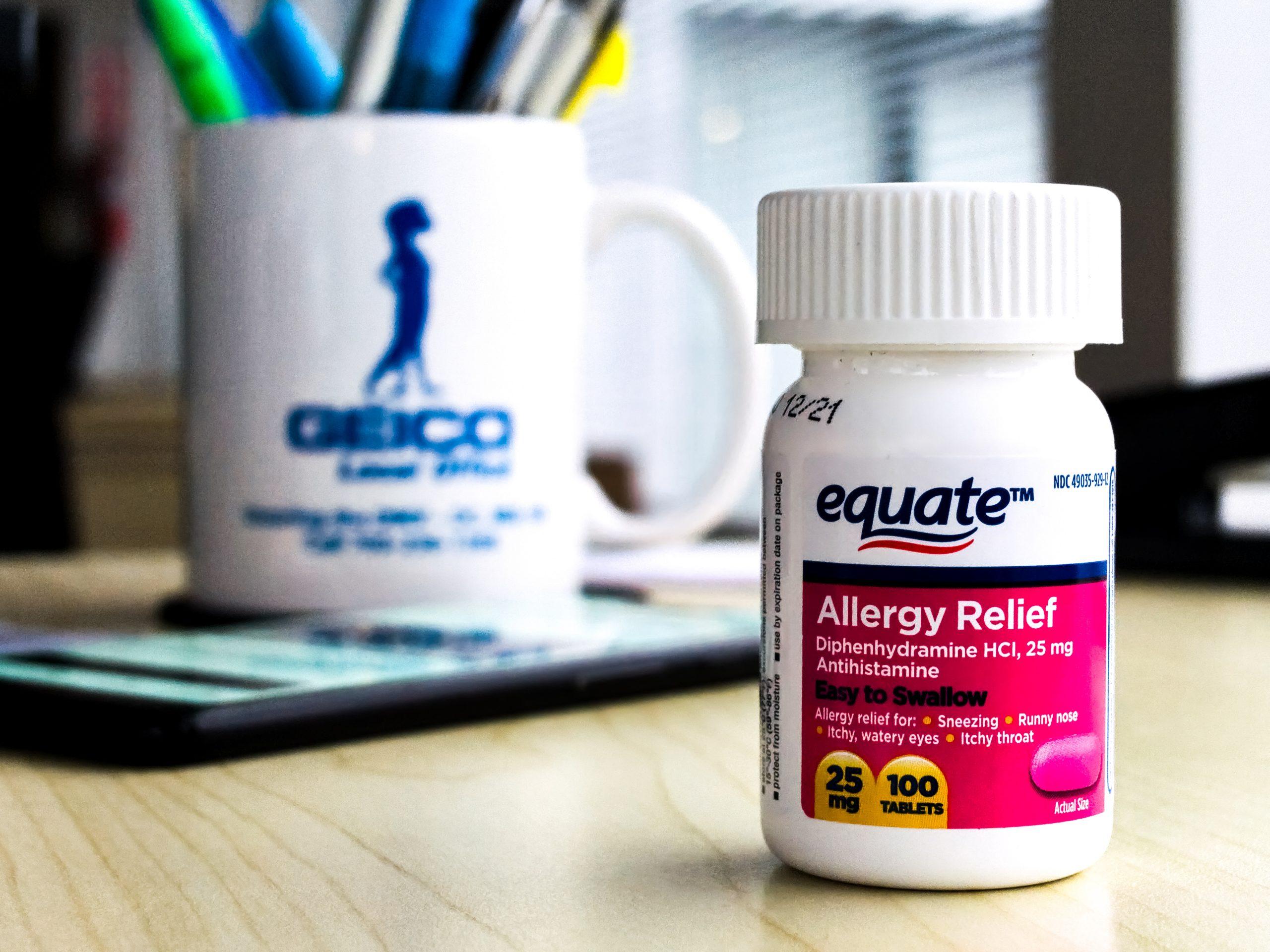 equate allergy relief tablets 100 tablets bottle
