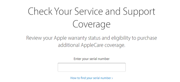 Screenshot from apple website showing service and support coverage