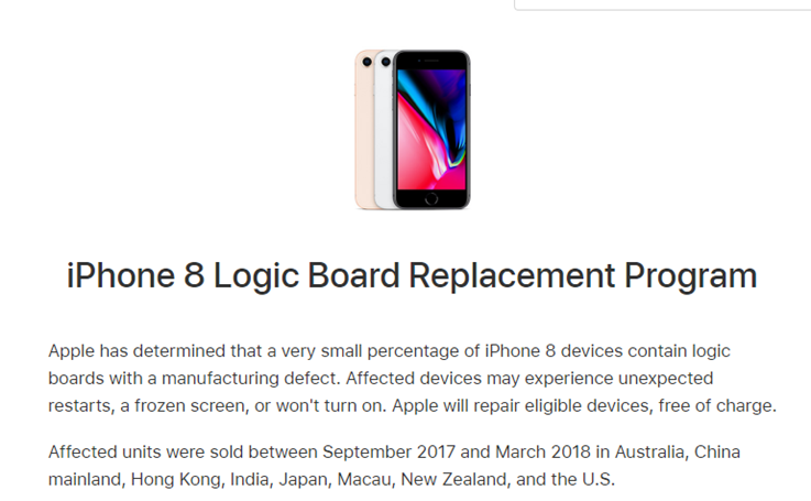 iPhone 8 Logic Board Replacement Program Information