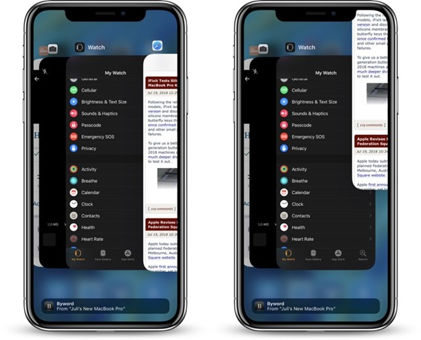 iPhone screen showing a procedure to Close Apps on iPhone X, XR, XS, and 11