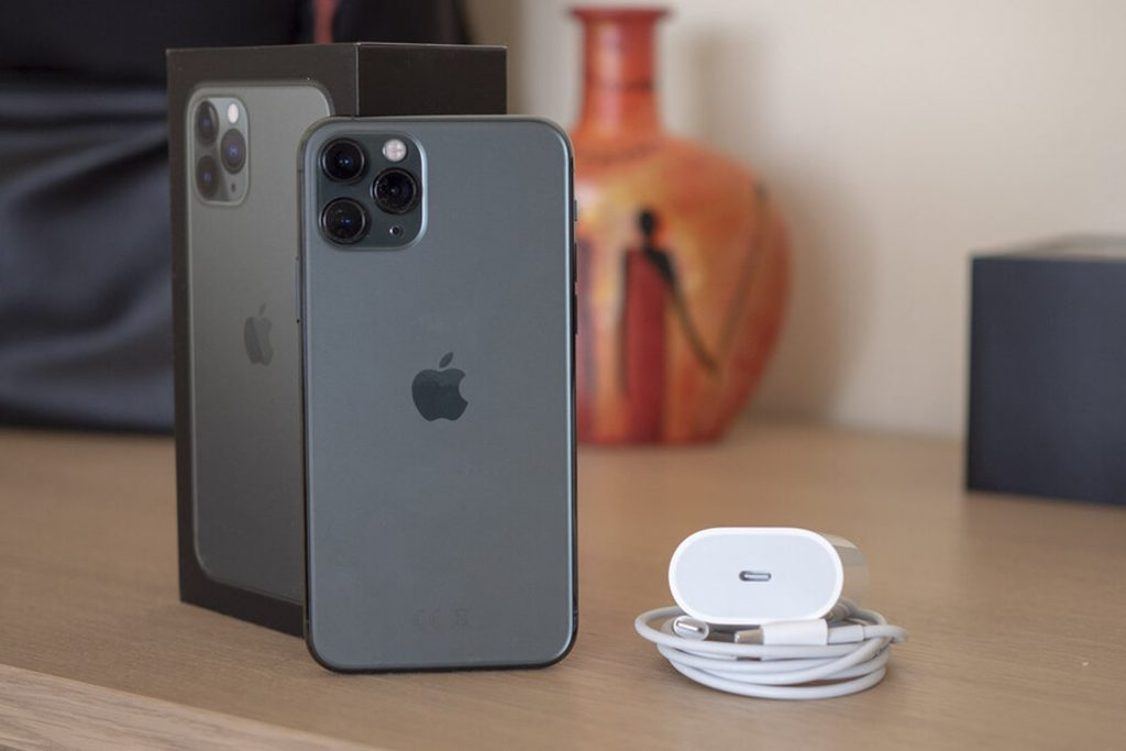 iPhone 11 Pro Max on the table with box and charger