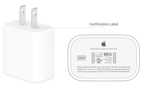 apple charger picture from apple manual