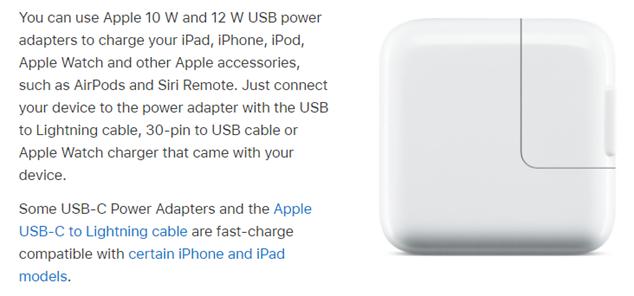 apple usb power adapter information