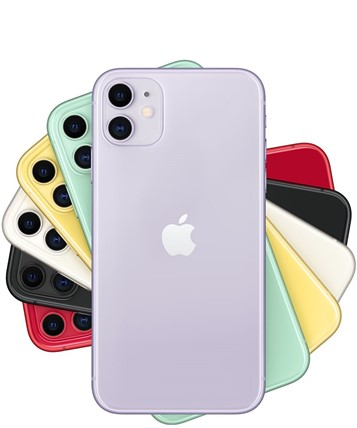 iPhone 11 white, peach, yellow, grey, black and pink