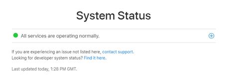 iCloud screenshot of system status