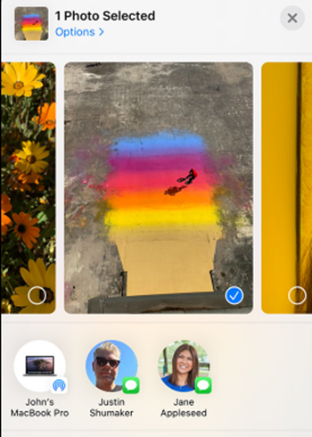 screenshot from iPhone gallery 1 photo selected