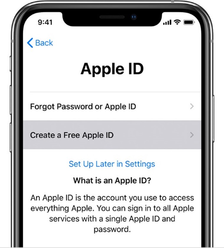 iphone screenshot of Apple ID section to create a free apple id option selected
