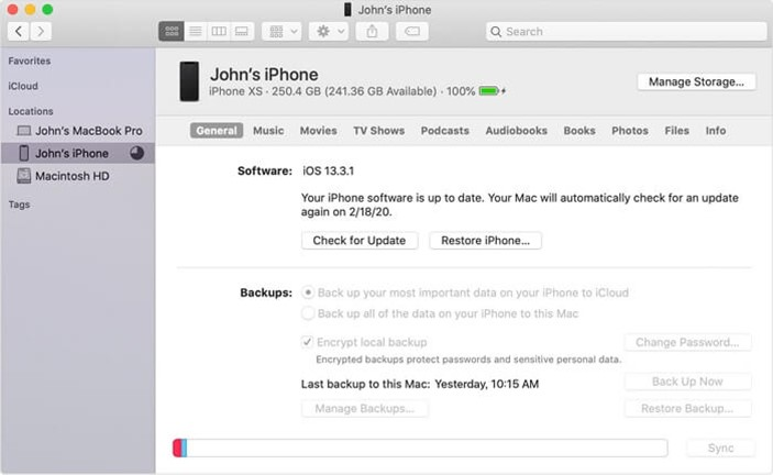 screenshot from a macbook showing how to back up iPhone 8 to Mac using Finder