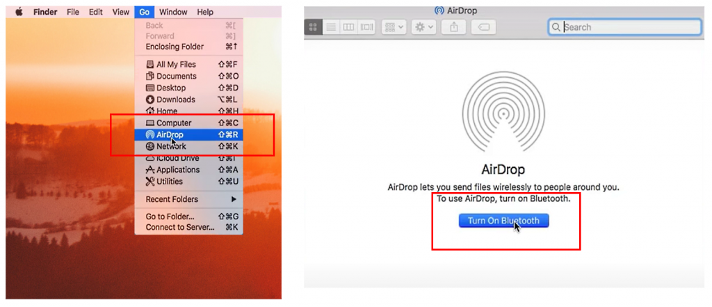 first screenshot showing Airdrop option selected from the Go Menu on macbook and second screenshot showing air drop window and cursor is pointing at Turn on Bluetooth button