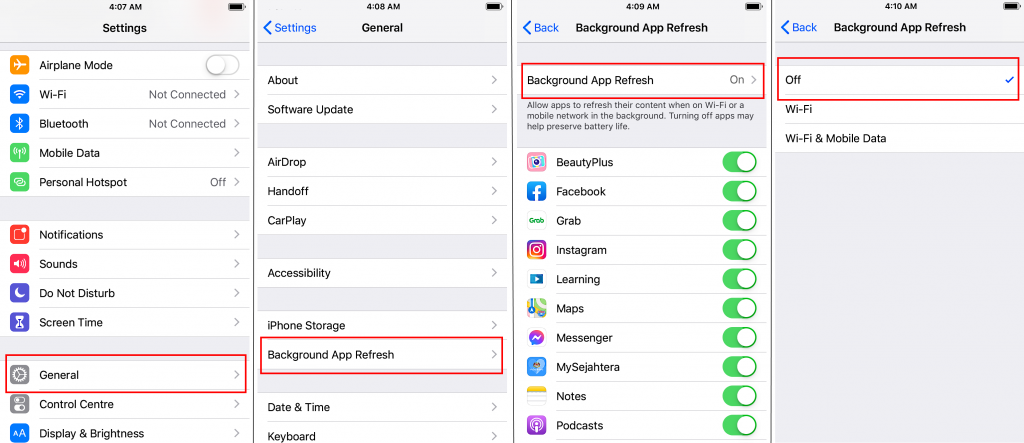 how to turn off background app refresh iphone screenshot step by step